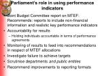 parliament s role in using performance indicators