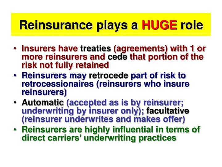 Reinsurance plays a