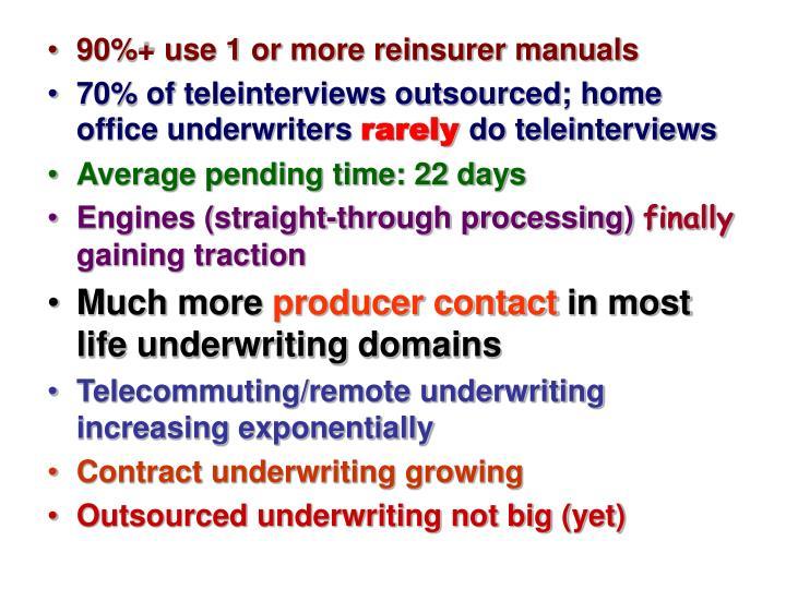 90%+ use 1 or more reinsurer manuals