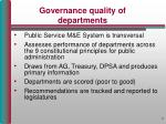 governance quality of departments