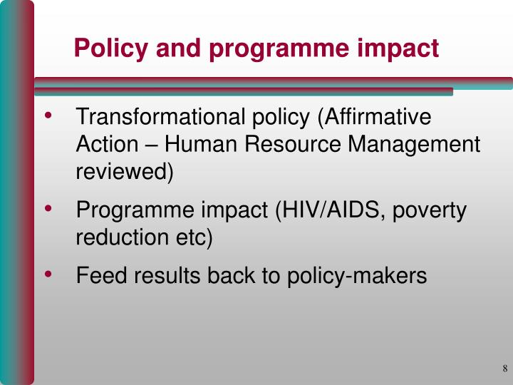 Policy and programme impact