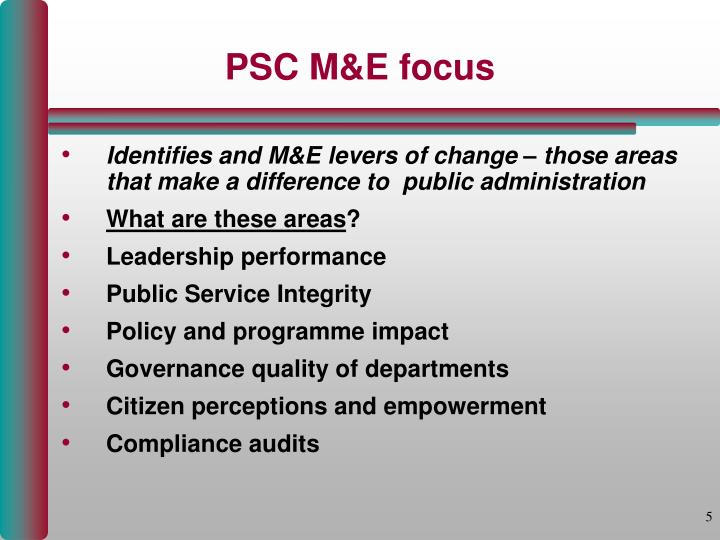 PSC M&E focus