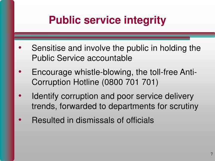Public service integrity