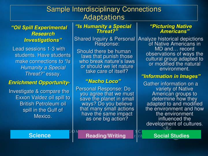 Sample Interdisciplinary Connectio