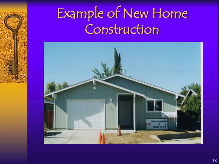 Example of New Home Construction