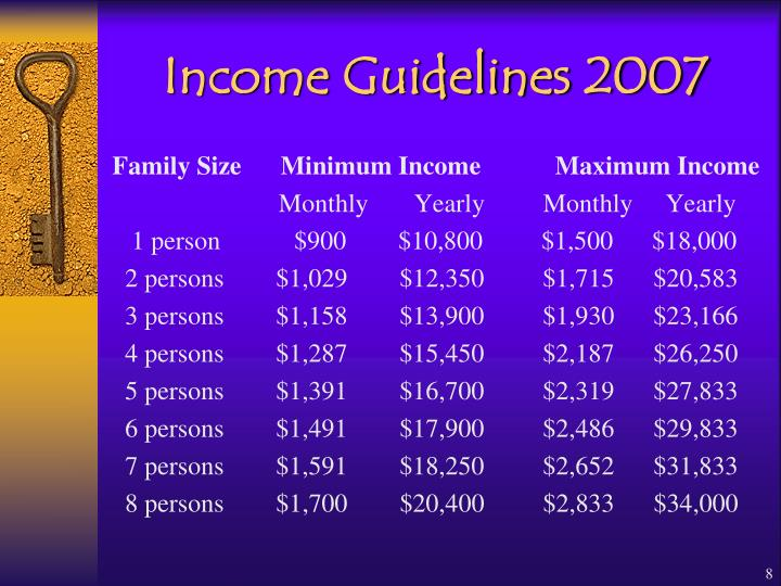 Income Guidelines 2007