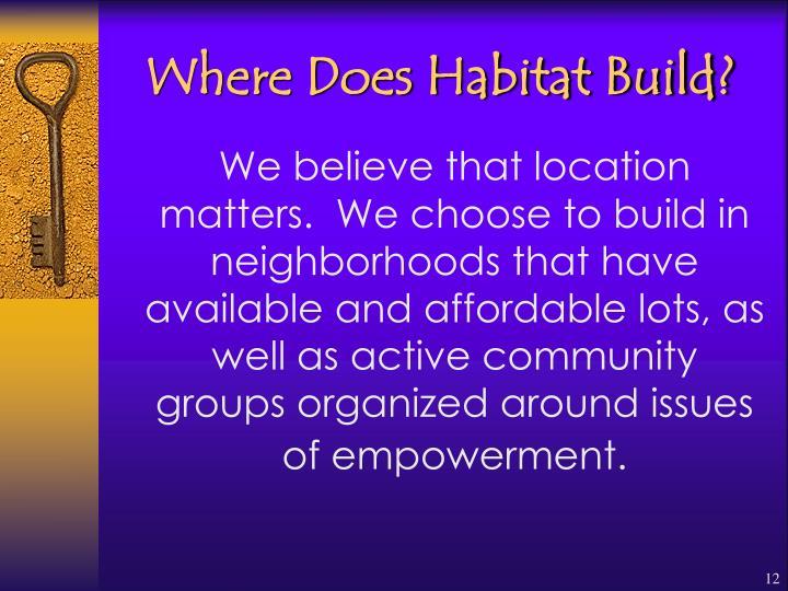 Where Does Habitat Build?