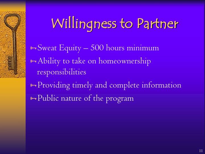 Willingness to Partner
