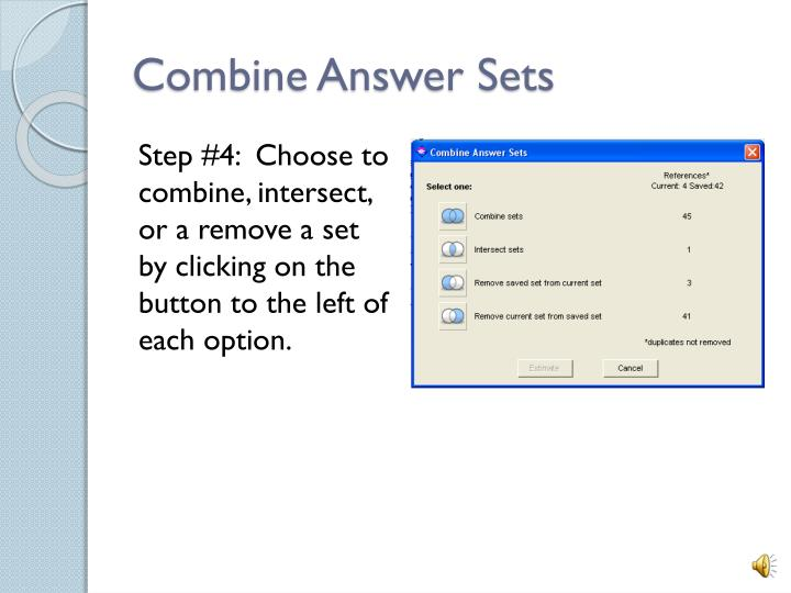 Combine Answer Sets