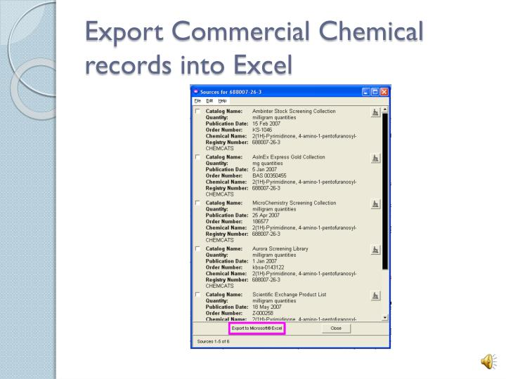 Export Commercial Chemical records into Excel