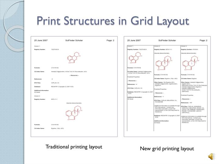 Print Structures in Grid Layout
