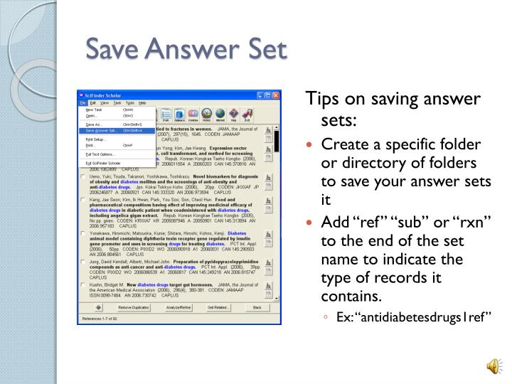 Save Answer Set