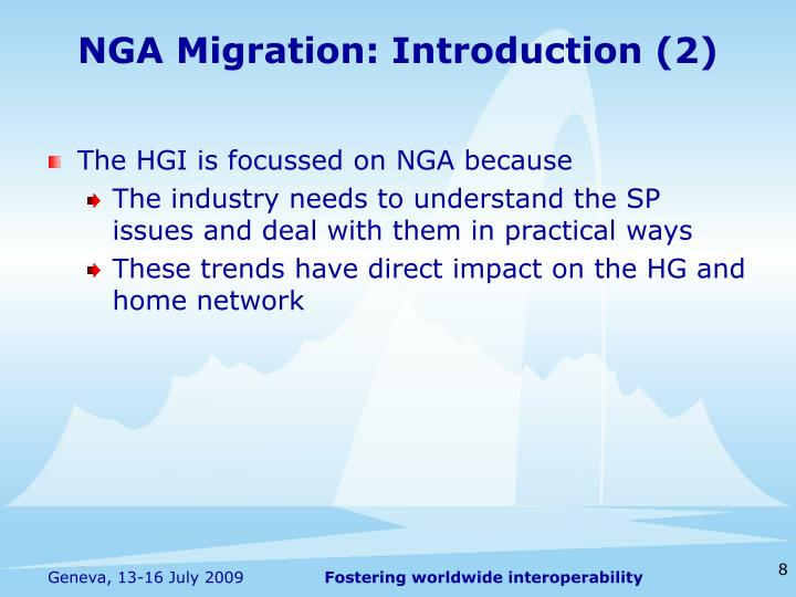 NGA Migration: Introduction (2)
