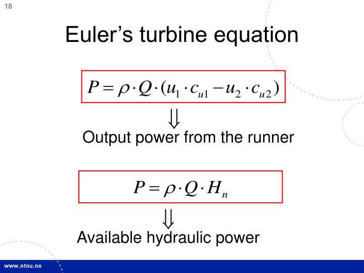 Euler's turbine equation