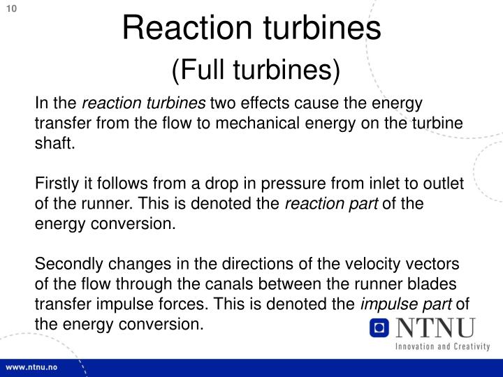 Reaction turbines