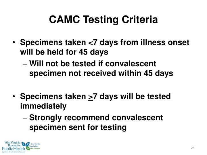 CAMC Testing Criteria