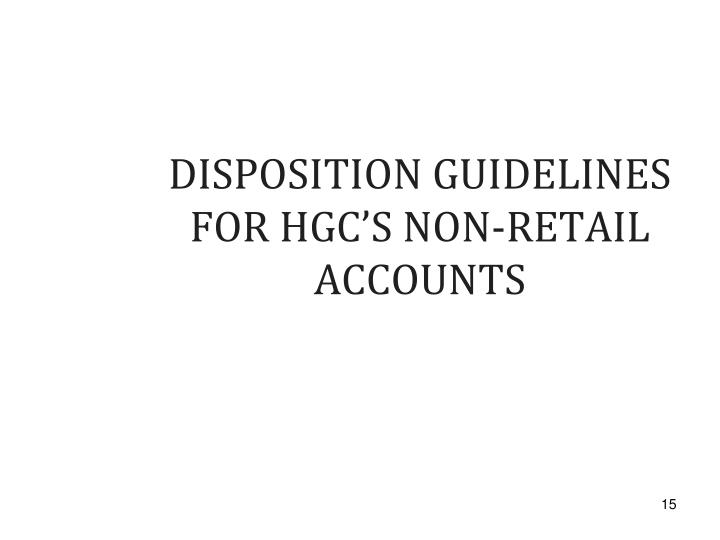 DISPOSITION GUIDELINES FOR HGC'S NON-RETAIL ACCOUNTS