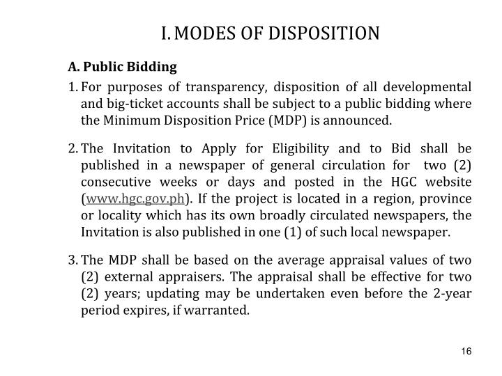 I.	MODES OF DISPOSITION