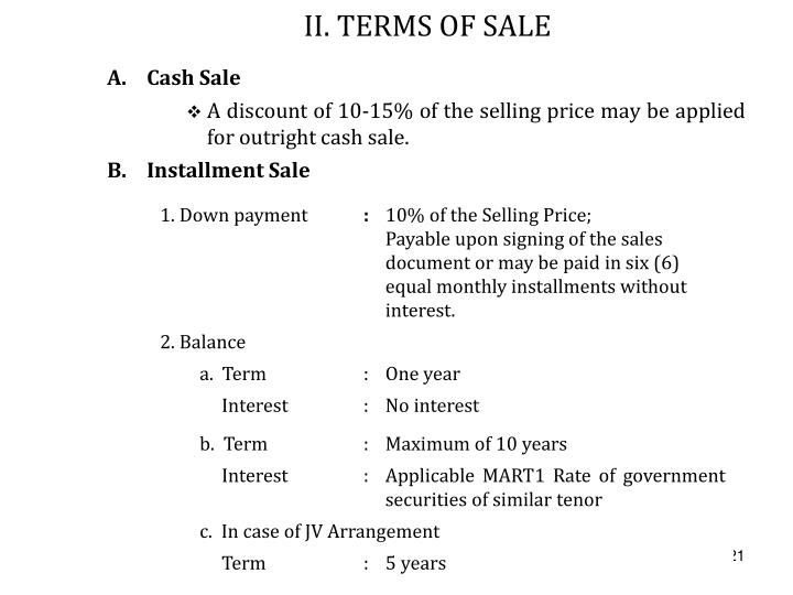 II. TERMS OF SALE