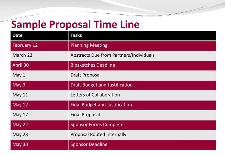 Sample Proposal Time Line