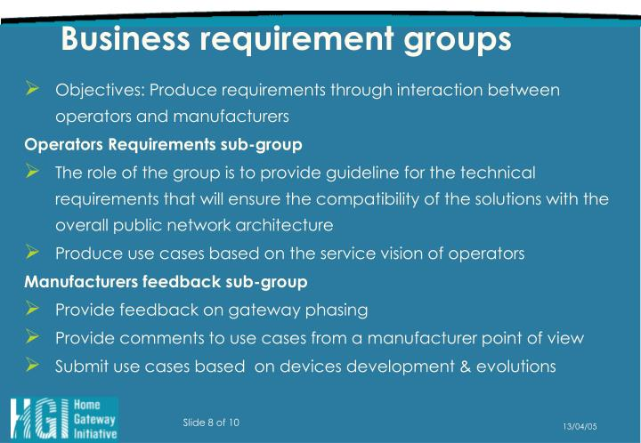 Business requirement groups