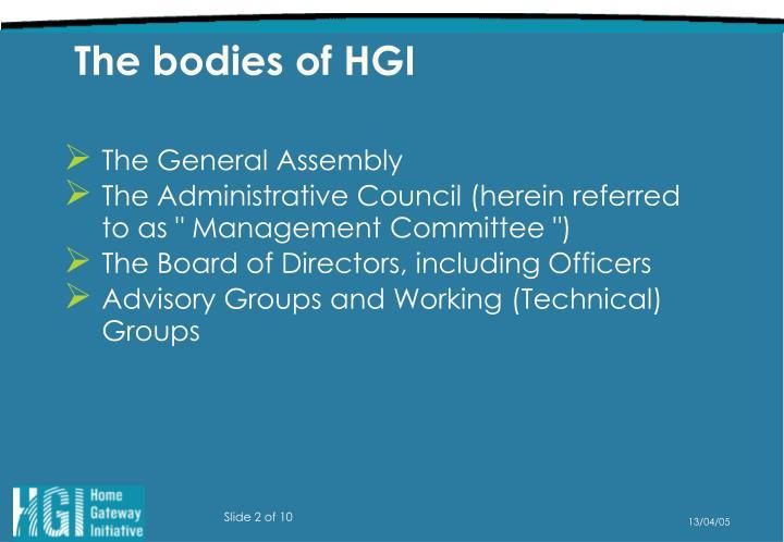 The bodies of HGI
