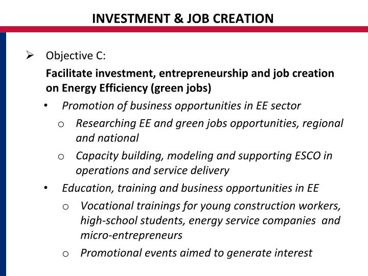 INVESTMENT & JOB CREATION