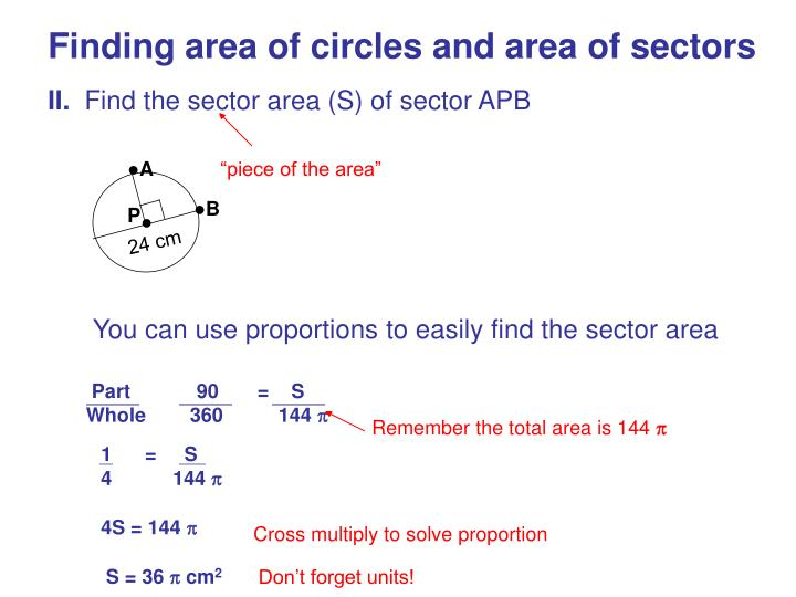 Finding area of circles and area of sectors