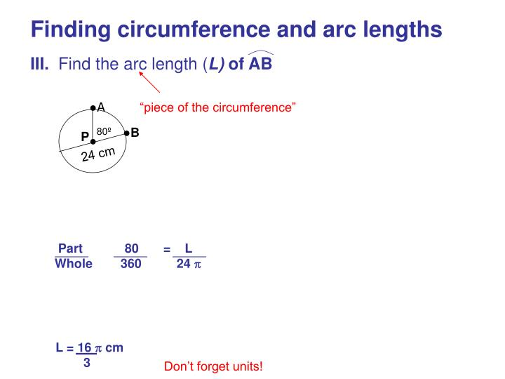 Finding circumference and arc lengths