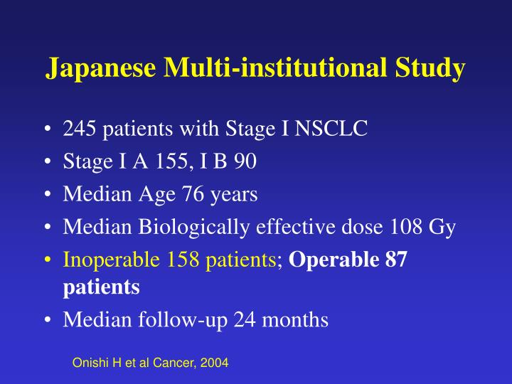 Japanese Multi-institutional Study