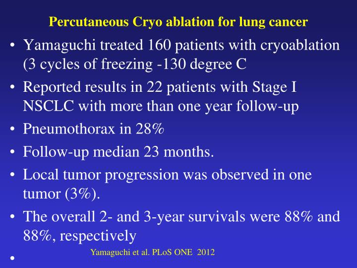 Percutaneous Cryo ablation for lung cancer