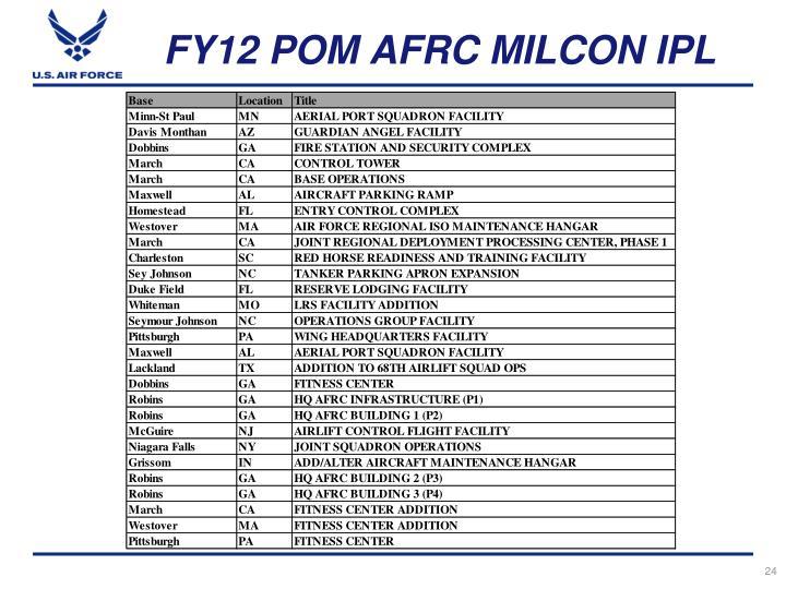 FY12 POM AFRC MILCON IPL