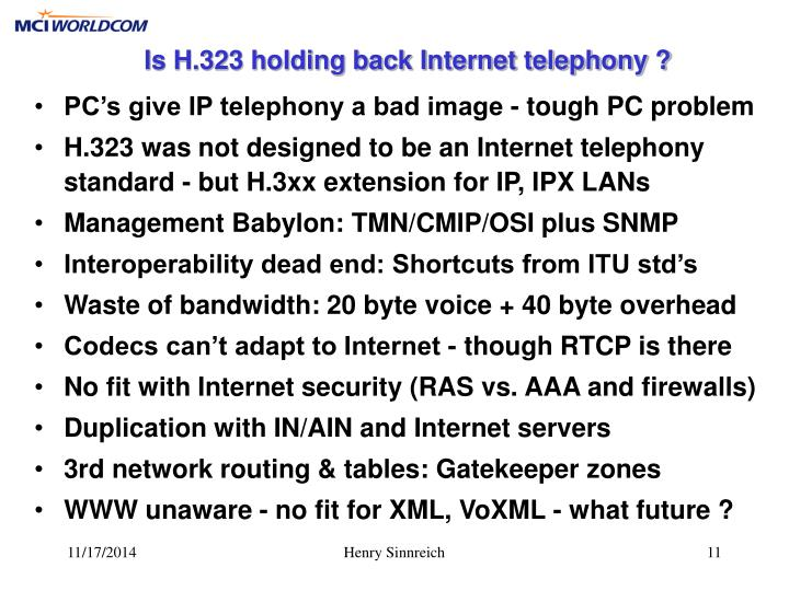 Is H.323 holding back Internet telephony ?