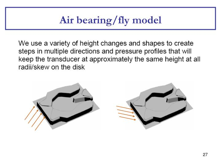 Air bearing/fly model