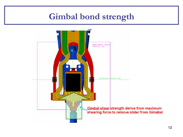 Gimbal bond strength