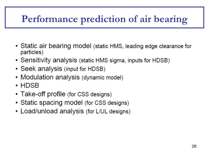 Performance prediction of air bearing
