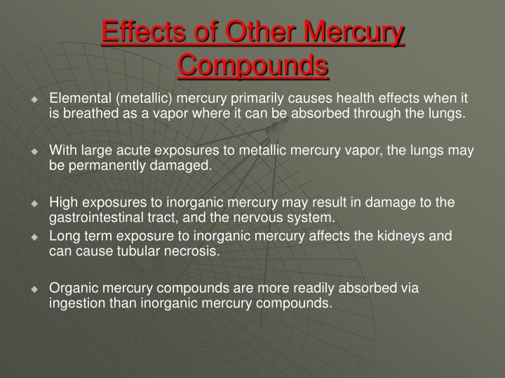 Effects of Other Mercury Compounds