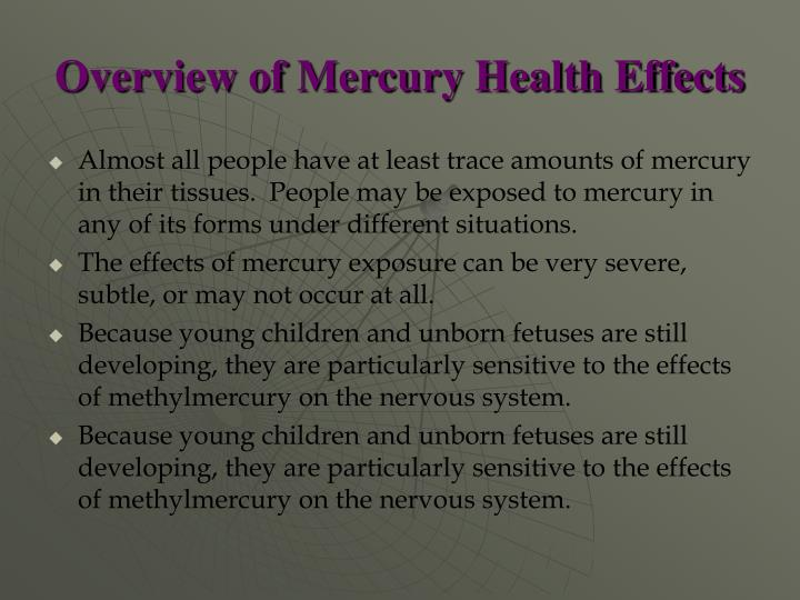 Overview of Mercury Health Effects