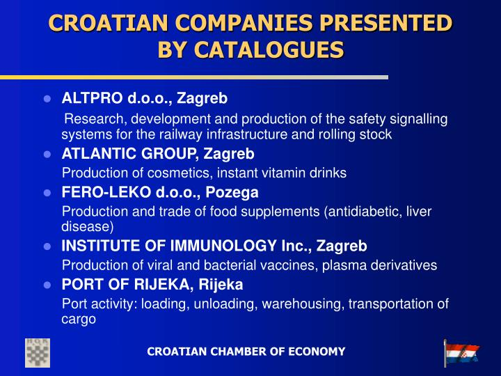 CROATIAN COMPANIES PRESENTED BY CATALOGUES