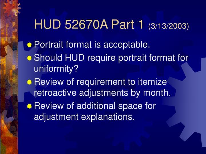 HUD 52670A Part 1