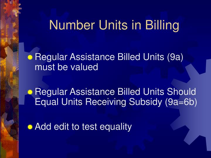 Number Units in Billing
