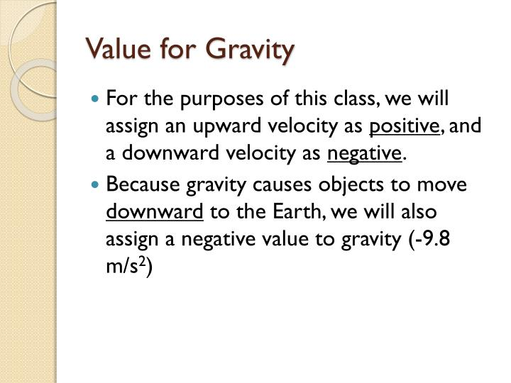 Value for Gravity