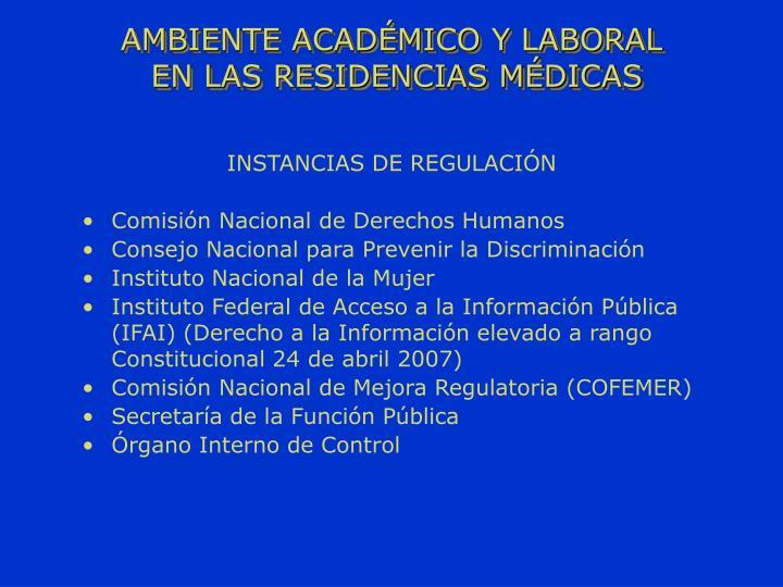INSTANCIAS DE REGULACIÓN