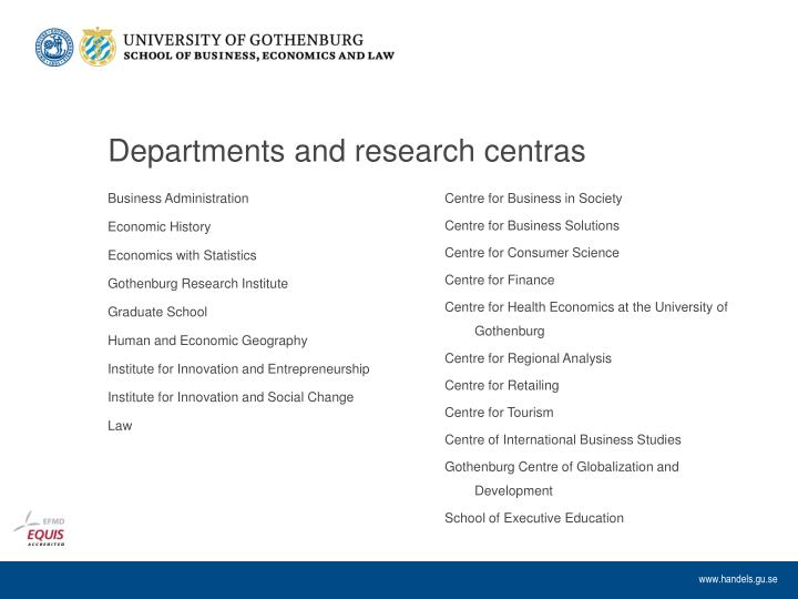 Departments and research centras