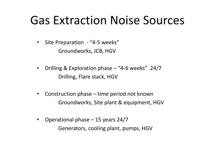Gas extraction noise sources