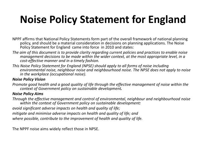 Noise Policy Statement for