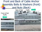 front and back of cable anchor assembly bolts washers front and nuts back