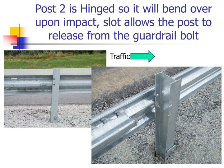 Post 2 is Hinged so it will bend over upon impact, slot allows the post to release from the guardrail bolt