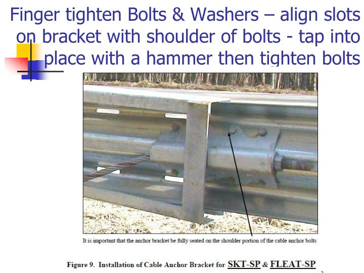 Finger tighten Bolts & Washers – align slots on bracket with shoulder of bolts - tap into   place with a hammer then tighten bolts