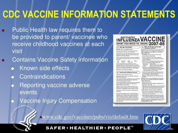 CDC VACCINE INFORMATION STATEMENTS